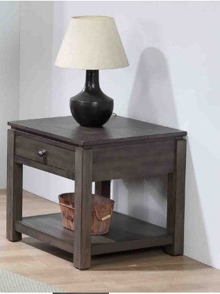 Beautiful Walnut End Table with Drawer and Shelf by Sunset Trading Collection