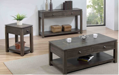 Three-Piece Oak Living Room Table Set Handcrafted by Sunset Trading Collection
