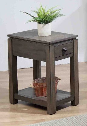 Perfectly Narrow End Table with Drawer and Shelf by Sunset Trading Collection
