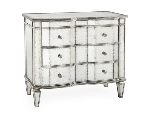 Angular Églomisé 3-Drawer Chest With Silver-Leaf Molding by John-Richard