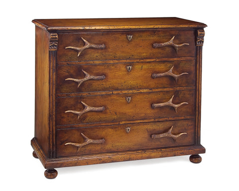 4-Drawer Distressed Wood Dresser With Antler Pulls To Accent Your Cabin Retreat by John-Richard