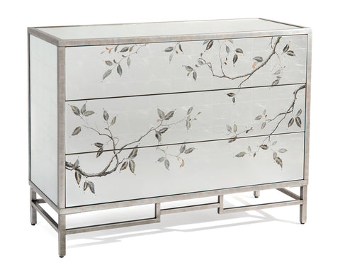 3-Drawer Eglomise Mirrored Chest With Brushed Silver Detailing and Base by John-Richard