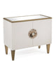 Image of Exquisite 2-Door Alabaster Cabinet With Mother of Pearl Handle And Gold Details by John-Richard