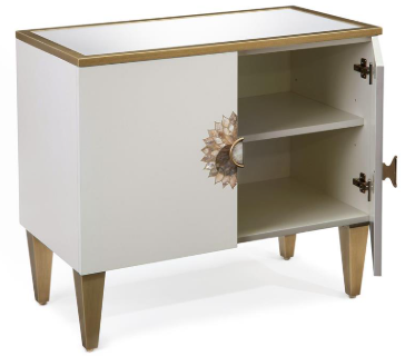 Exquisite 2-Door Alabaster Cabinet With Mother of Pearl Handle And Gold Details by John-Richard