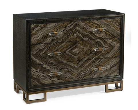 Portoro Cerused 3-Drawer Chest In Taupe And Gold With Crystal Prism Pulls by John-Richard