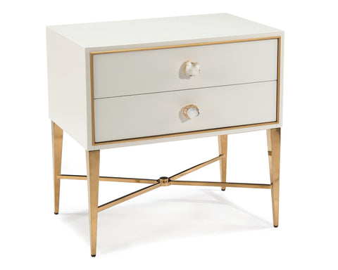 Ornamento Beluga White Nightstand With Gold Details and Crystal Handles by John-Richard