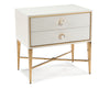 Image of Ornamento Beluga White Nightstand With Gold Details and Crystal Handles by John-Richard