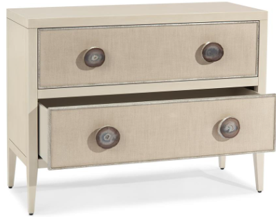 Marais Beluga Chest With White Linen And Pewter Detailed Drawers With Natural Agate Handles by John-Richard