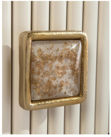 Modica 3-Drawer Chest Finished in White Linen, Reeded Center Panel Trimmed in Gold Leaf And Brass by John-Richard