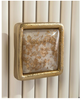 Image of Modica 3-Drawer Chest Finished in White Linen, Reeded Center Panel Trimmed in Gold Leaf And Brass by John-Richard