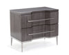 Image of Grand Boulevard 2-Drawer Nightstand With Angular Fronts And Brushed Stainless Steel by John-Richard