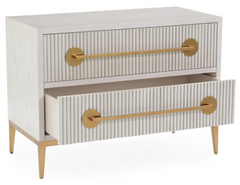Carlyle 2-Drawer Ash Beluga Nightstand With Reeded Fronts, Finished In Estruscan Gold by John-Richard
