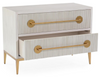 Image of Carlyle 2-Drawer Ash Beluga Nightstand With Reeded Fronts, Finished In Estruscan Gold by John-Richard