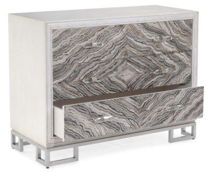 Emperador 3-Drawer Ash Chest In Antique Beluga With Faux Marble Fronts by John-Richard