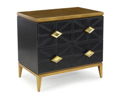 2-Drawer Nightstand In Hand-Stitched Black Leather With Antique Gold, Beveled Glass Details by John-Richard