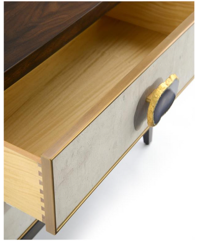 Palma 2-Drawer Nightstand Features Polished Agate And Gilt-Edged Handles With Tiza Gesso Finish by John-Richard
