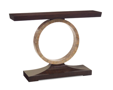 Macassar Ebony Console Table With Exquisite Mother-of-Pearl Ring by John-Richard