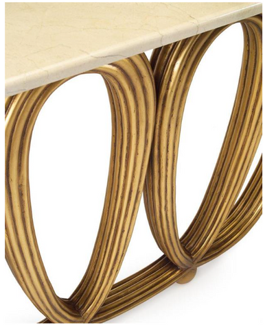 Sophiscated Crema Marfil Marble And Gold Reeded Console Table by John-Richard