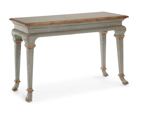 Florentine Console Table In Distressed French Country Blue/Aged Gilt Accents by John-Richard