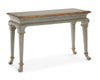 Image of Florentine Console Table In Distressed French Country Blue/Aged Gilt Accents by John-Richard