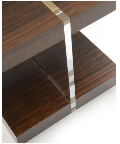 Unique Transparent Acylic And Smoked Eucalyptus Side Table With Antique Gold Details by John-Richard