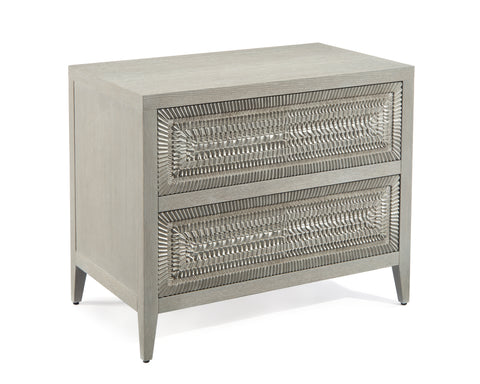Unusual 2-Drawer Nightstand With Ornate Silver-White Patterned Drawer Fronts by John-Richard