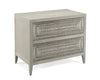 Image of Unusual 2-Drawer Nightstand With Ornate Silver-White Patterned Drawer Fronts by John-Richard