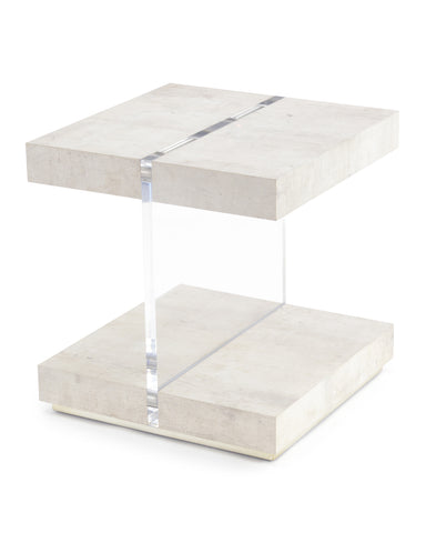 Unique Transparent Acrylic End Table Finished In Tiza Gesso And Silver Pewter by John-Richard