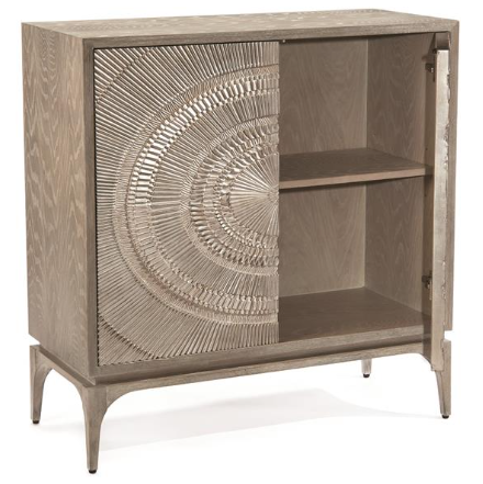 Cosmos 2-Door Chest In Gray Oak With Center Pattern of Silver-White Radiation by John-Richard