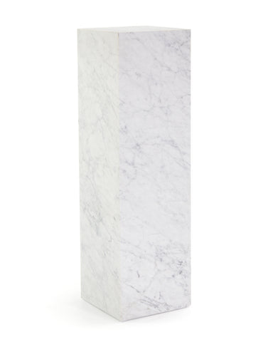 A Showpiece! Tall White Cararra Marble Pedestal Table With Soft Grey Veining by John-Richard