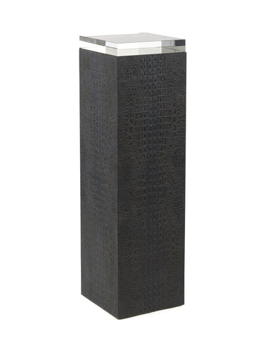 Graystoke Tall Pedestal In Black Faux Crocodile Inlay With A Crystal Glass Block Top by John-Richard