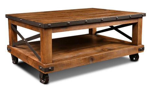 Industrial-Inspired Coffee Table With Forged Iron Accents by Sunset Trading Collection