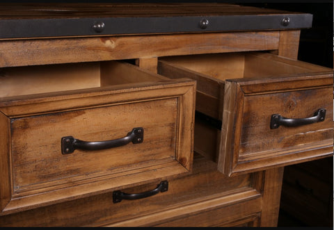 Monterey Pine 6-Drawer Chest With Eco-Friendly Stained Finish by Sunset Trading Collection