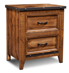 Monterey Pine 2-Drawer Nightstand With Cast Metal Accents by Sunset Trading Collection