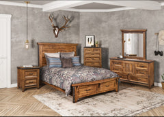 Monterey Pine 5-Piece Bedroom Set With Charcoal Gray Forged Metal Pulls by Sunset Trading Collection