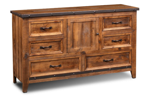 Monterey Pine 6-Drawer Dresser with Mirror With Metal Rivets by Sunset Trading Collection
