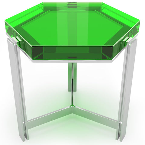 Hexagon Coffee Table In Ten Crystal Clear Colors by Arditi Collection