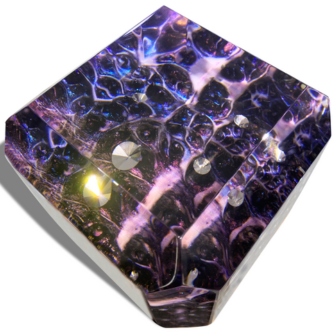 "Heavenly ""Dream Space"" Cube Is Made Of Clear Amethyst Epoxy Resin And Wood by Arditi Collection"