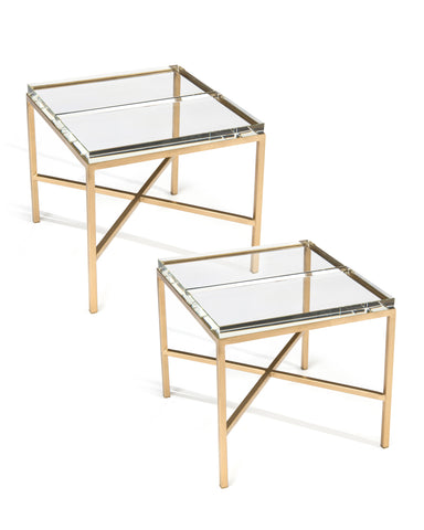 The Ultimate Bunching Table With Clear Double-Glass Block Top And Gold Base by John-Richard
