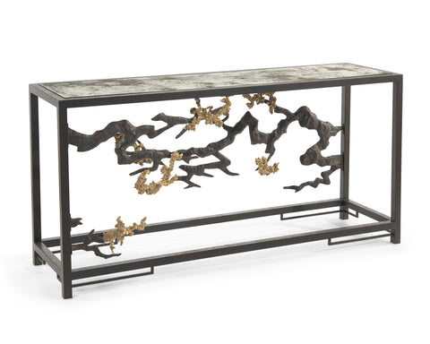 Organically Sculpted Console Table In Antique Brass, Gold Leaf And Glass by John-Richard