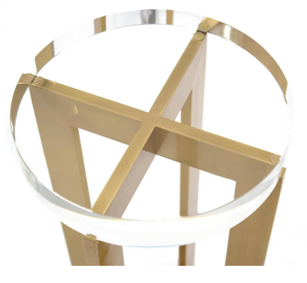 Luxurious Clear Crystal Martini Table On A Brass Base by John-Richard