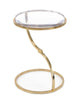 Image of Antique Curved Brass Cradles This Striking Acrylic Accent Table by John-Richard
