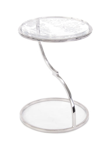 Dazzle Your Guests With This Accent Table Of Polished Stainless Steel And Clear Acrylic  by John-Richard