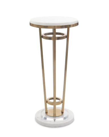 Stunning Cabaret Table Features White Marble, Acrylic and Antique Brass Finishes by John-Richard