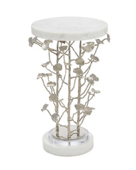 Cast Metal Martini Table Features Sculpted Brushed Nickel Tree Branches Adorned With White Marble by John-Richard