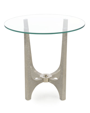 Glass-Topped Side Table With Base Finished In Whitewashed, Striated Texture And Nickel by John-Richard