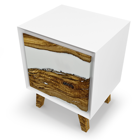 Nephele Olive Wood Minimal White Cabinet by Arditi Collection