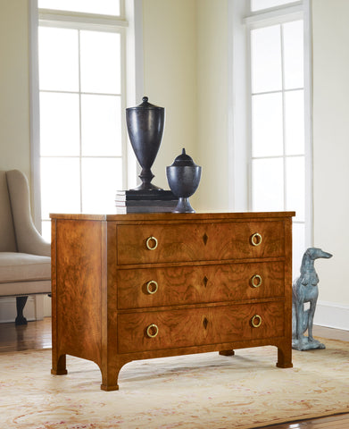 Solid Walnut 3-Drawer Chest With French Veneers, Burl Finish by Modern History Home