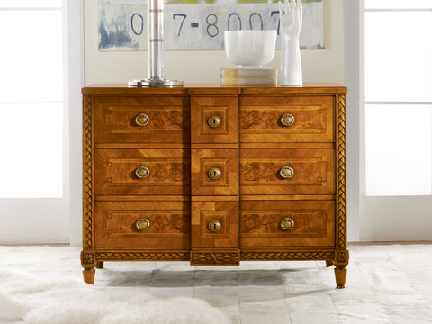 Walnut Continental Dresser With Elegantly Detailed Carvings by Modern History Home