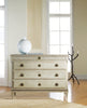 Image of Large Gustavian 4-Drawer Dresser In Beech Wood With Hand-Carved Details In Antique Ivory Distressed Finish by Modern History Home